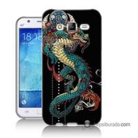 Teknomeg Samsung Galaxy J2 Kapak Kılıf Ejderha Baskılı Silikon