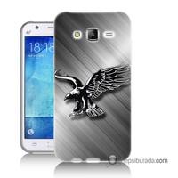 Teknomeg Samsung Galaxy J2 Kapak Kılıf Kara Kartal Baskılı Silikon