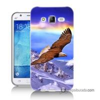 Teknomeg Samsung Galaxy J2 Kapak Kılıf Manzaralı Kartal Baskılı Silikon