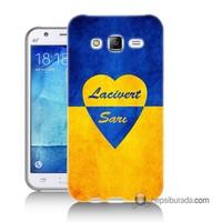 Teknomeg Samsung Galaxy J2 Kapak Kılıf Sarı Lacivert Baskılı Silikon