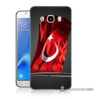 Teknomeg Samsung Galaxy J5 2016 Kapak Kılıf Türk Bayrağı Baskılı Silikon