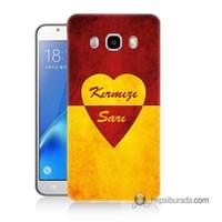 Teknomeg Samsung Galaxy J5 2016 Kapak Kılıf Sarı Kırmızı Baskılı Silikon