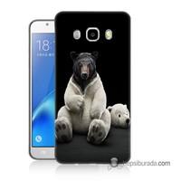Teknomeg Samsung Galaxy J7 2016 Kapak Kılıf Kostümlü Ayı Baskılı Silikon