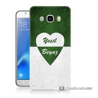Teknomeg Samsung Galaxy J7 2016 Kapak Kılıf Yeşil Beyaz Baskılı Silikon