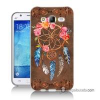 Teknomeg Samsung Galaxy J7 Kapak Kılıf Çiçekli Dreamcatcher Baskılı Silikon