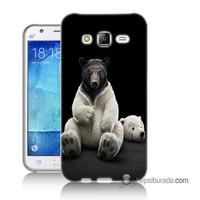 Teknomeg Samsung Galaxy J7 Kapak Kılıf Kostümlü Ayı Baskılı Silikon