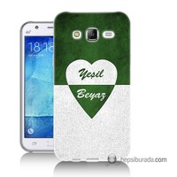 Teknomeg Samsung Galaxy J7 Kapak Kılıf Yeşil Beyaz Baskılı Silikon