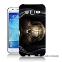 Teknomeg Samsung Galaxy J7 Kapak Kılıf Kurukafa Baskılı Silikon