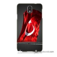 Teknomeg Samsung Galaxy Note 3 Kapak Kılıf Türk Bayrağı Baskılı Silikon