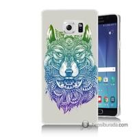Teknomeg Samsung Galaxy Note 5 Kapak Kılıf Tribal Kurt Baskılı Silikon