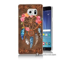 Teknomeg Samsung Galaxy Note 5 Kapak Kılıf Çiçekli Dreamcatcher Baskılı Silikon