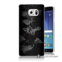 Teknomeg Samsung Galaxy Note 5 Kapak Kılıf Harita Baskılı Silikon