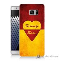 Teknomeg Samsung Galaxy Note 7 Kapak Kılıf Sarı Kırmızı Baskılı Silikon
