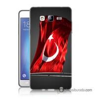 Teknomeg Samsung Galaxy On 5 Kapak Kılıf Türk Bayrağı Baskılı Silikon