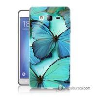 Teknomeg Samsung Galaxy On 7 Kılıf Kapak Mavi Kelebekler Baskılı Silikon