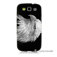 Teknomeg Samsung Galaxy S3 Kapak Kılıf Kara Kartal Baskılı Silikon