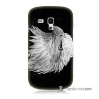 Teknomeg Samsung Galaxy S3 Mini Kapak Kılıf Kara Kartal Baskılı Silikon