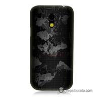 Teknomeg Samsung Galaxy S4 Mini Kapak Kılıf Harita Baskılı Silikon