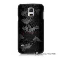 Teknomeg Samsung Galaxy S5 Mini Kapak Kılıf Harita Baskılı Silikon