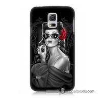 Teknomeg Samsung Galaxy S5 Mini Kapak Kılıf Gözlüklü Kız Baskılı Silikon