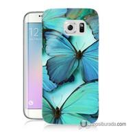 Teknomeg Samsung Galaxy S6 Edge Plus Kılıf Kapak Mavi Kelebekler Baskılı Silikon