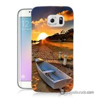 Teknomeg Samsung Galaxy S6 Edge Plus Kapak Kılıf Kumsal Manzara Baskılı Silikon