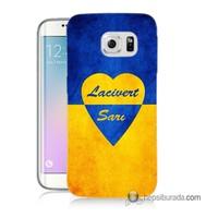Teknomeg Samsung Galaxy S6 Edge Plus Kapak Kılıf Sarı Lacivert Baskılı Silikon