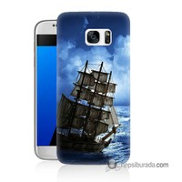 Teknomeg Samsung Galaxy S7 Kapak Kılıf Yelkenli Baskılı Silikon