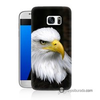 Teknomeg Samsung Galaxy S7 Kapak Kılıf Siyah Kartal Baskılı Silikon