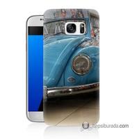 Teknomeg Samsung Galaxy S7 Kapak Kılıf Mavi Vosvos Baskılı Silikon