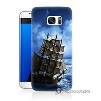 Teknomeg Samsung Galaxy S7 Edge Kapak Kılıf Yelkenli Baskılı Silikon