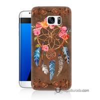 Teknomeg Samsung Galaxy S7 Edge Kapak Kılıf Çiçekli Dreamcatcher Baskılı Silikon