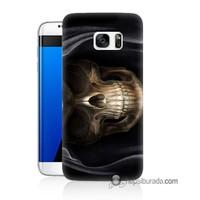 Teknomeg Samsung Galaxy S7 Edge Kapak Kılıf Kurukafa Baskılı Silikon