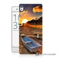 Teknomeg Sony Xperia E5 Kapak Kılıf Kumsal Manzara Baskılı Silikon