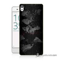 Teknomeg Sony Xperia Xa Ultra Kapak Kılıf Harita Baskılı Silikon