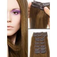 Hairens® 8 Parça Gerçek Doğal Çıt Çıt Saç Açık Kahverengi 170gr.