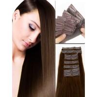 Hairens® 8 Parça Gerçek Doğal Çıt Çıt Saç Çikolata Kahverengi 170gr.