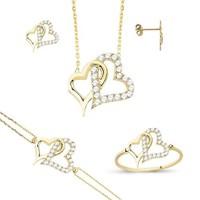 Melis Gold Altın Kalpli Set As000033