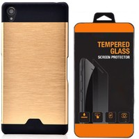 Exclusive Phone Case Sony Xperia Z2 Kılıf Metal Kapak Altın+Tempered Glass
