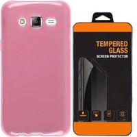 Exclusive Phone Case Samsung Galaxy On 5 Kılıf 0.2 Silikon Pembe+Tempered Glass