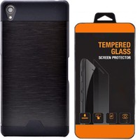 Kılıfland Sony Xperia Z2 Kılıf Metal Motomo Siyah+Cam