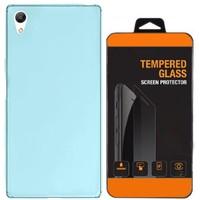 Kılıfland Sony Xperia Z4 Kılıf 0.2 Silikon Mavi+Temperli Cam
