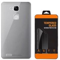 Exclusive Phone Case Huawei Mate 8 Kılıf 0.2 Silikon Siyah+Tempered Glass
