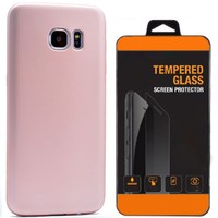 Exclusive Phone Case Samsung Galaxy S7 Kılıf Mat Silikon +Tempered Glass