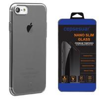 Cepsesuar iPhone 7 Kılıf Silikon Simple Serisi Baseus Siyah + Kırılmaz Cam