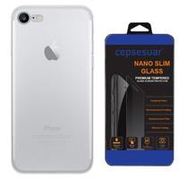 Cepsesuar iPhone 7 Kılıf Silikon Kamera Korumalı Şeffaf + Cam