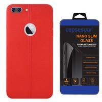 Cepsesuar iPhone 7 Plus Kılıf Silikon Dikişli Kırmızı + Cam