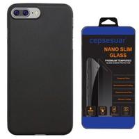 Cepsesuar iPhone 7 Plus Kılıf Silikon Polo Siyah + Kırılmaz Cam