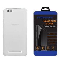 Cepsesuar Lenovo Vibe C A2020 Kılıf Silikon 0.2 mm Şeffaf + Kırılmaz Cam
