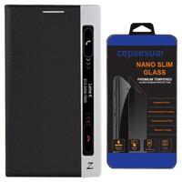 Cepsesuar LG Stylus 2 Kılıf Kapaklı Dolce Siyah + Kırılmaz Cam